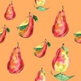 Teste padrão brilhante com as peras suculentas no fundo alaranjado ilustração royalty free