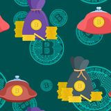 Teste padrão brilhante com o estoque do bitcoin das moedas de ouro ilustração do vetor