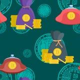 Teste padrão brilhante com vetor digital do estoque de dinheiro das moedas de ouro ilustração royalty free
