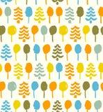 Teste padrão brilhante decorativo com o doo sem emenda das árvores ilustração stock