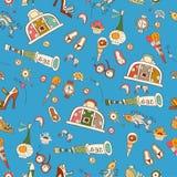 Teste padrão brilhante dos desenhos animados com ícones das férias de verão Fotos de Stock