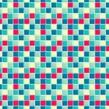 Teste padrão brilhante que consiste do vermelho, a luz e esmeralda, luz - amarelo e quadrados escuros do azul do vivd Fotografia de Stock Royalty Free
