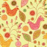 Teste padrão brilhante sem emenda com pássaros étnicos Imagem de Stock Royalty Free