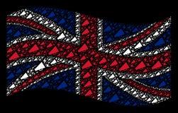 Teste padrão britânico de ondulação da bandeira de ícones alertas do megafone ilustração royalty free