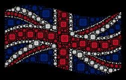 Teste padrão BRITÂNICO de ondulação da bandeira de ícones do processador de ASIC ilustração stock