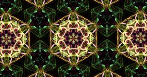 Teste padrão calidoscópico no fundo escuro em cores vibrantes video estoque