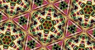 Teste padrão calidoscópico no fundo escuro em cores vibrantes vídeos de arquivo