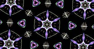 Teste padrão calidoscópico no fundo escuro em cores vibrantes Imagem de Stock Royalty Free