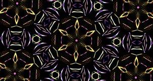 Teste padrão calidoscópico no fundo escuro em cores vibrantes filme