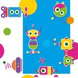 Teste padrão/cartão coloridos da coleção dos robôs Fotografia de Stock Royalty Free