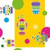 Teste padrão/cartão coloridos da coleção dos robôs Fotos de Stock Royalty Free