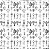 Teste padrão chave da antiguidade preto e branco da repetição Imagens de Stock Royalty Free