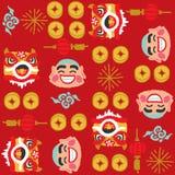 Teste padrão chinês do vetor de Lion Dancing do ano novo ilustração stock