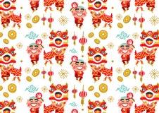 Teste padrão chinês do vetor de Lion Dancing do ano novo ilustração royalty free