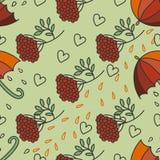 Teste padrão chuvoso do outono com guarda-chuvas, kalina, folhas e corações Imagens de Stock