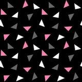 Teste padrão cinzento cor-de-rosa branco dos triângulos no fundo preto v sem emenda Fotos de Stock Royalty Free
