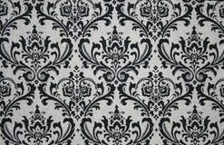 Teste padrão cinzento e preto do damasco imagem de stock