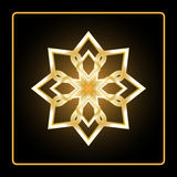 Teste padrão circular Ícone geométrico Figura aguçado do ouro oito no fundo preto Estilo moderno Ilustração do vetor Símbolo simp Fotografia de Stock