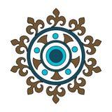 Teste padrão circular com elementos florais abstratos no estilo retro Tela de matéria têxtil, impressão e muitas outras áreas dos ilustração royalty free