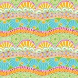Teste padrão colorido abstrato da garatuja Teste padrão sem emenda tirado mão da garatuja para a matéria têxtil Fotografia de Stock