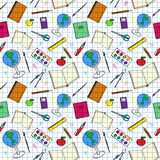 Teste padrão colorido com artigos escola-relacionados Foto de Stock Royalty Free
