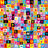Teste padrão colorido com letras do alfabeto Imagens de Stock Royalty Free