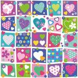Teste padrão colorido da coleção dos corações Fotos de Stock Royalty Free
