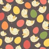 Teste padrão colorido da galinha do pássaro do vintage sem emenda bonito surpreendente Fotos de Stock Royalty Free