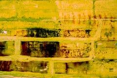 Teste padrão colorido da parede de tijolo, tijolos pintados como a textura urbana Fotos de Stock