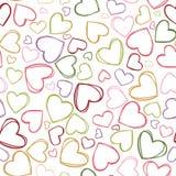 Teste padrão colorido da repetição dos esboços do coração do vetor Apropriado para o papel de embrulho, a matéria têxtil e o pape ilustração royalty free