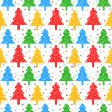 Teste padrão colorido das árvores de Natal Fotos de Stock Royalty Free