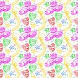 Teste padrão colorido do carnaval com garatujas das máscaras, dos confetes e das estrelas Imagem de Stock