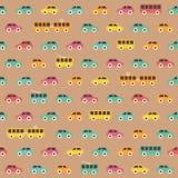 Teste padrão colorido do carro do vintage sem emenda surpreendente Imagens de Stock Royalty Free