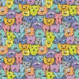 Teste padrão colorido do gato do esboço Imagens de Stock