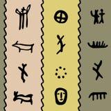 Teste padrão colorido do petroglyph Imagem de Stock Royalty Free