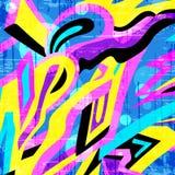 Teste padrão colorido dos grafittis dos polígono em um fundo amarelo ilustração stock