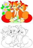 Teste padrão colorido e preto e branco para colorir Ilustração de duas raposas bonitos Imagem de Stock