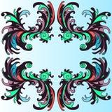 Teste padrão colorido em um papel de parede azul do fundo Ilustração Royalty Free