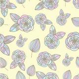 Teste padrão colorido sem emenda com rosas e mão da folha Fotografia de Stock Royalty Free