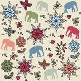 Teste padrão colorido sem emenda dos elefantes e teste padrão sem emenda no golpe Imagens de Stock