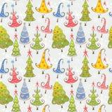 Teste padrão com árvores de Natal Imagens de Stock