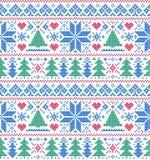 Teste padrão com árvores e flocos de neve Fotos de Stock Royalty Free