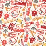 Teste padrão com ícones e símbolos do sapador-bombeiro ilustração royalty free