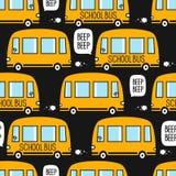 Teste padrão com ônibus escolares amarelos ilustração royalty free