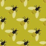 Teste padrão com abelhas Imagens de Stock Royalty Free