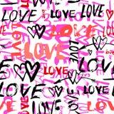 Teste padrão com amor pintado à mão das palavras Fotografia de Stock
