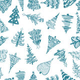 Teste padrão com as árvores de Natal Fotografia de Stock