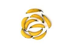 Teste padrão com as bananas isoladas Foto de Stock