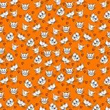Teste padrão com as caras bonitos e os corações do gato dos desenhos animados ilustração do vetor