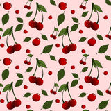 Teste padrão com as cerejas e as folhas colocadas aleatoriamente Imagem de Stock Royalty Free